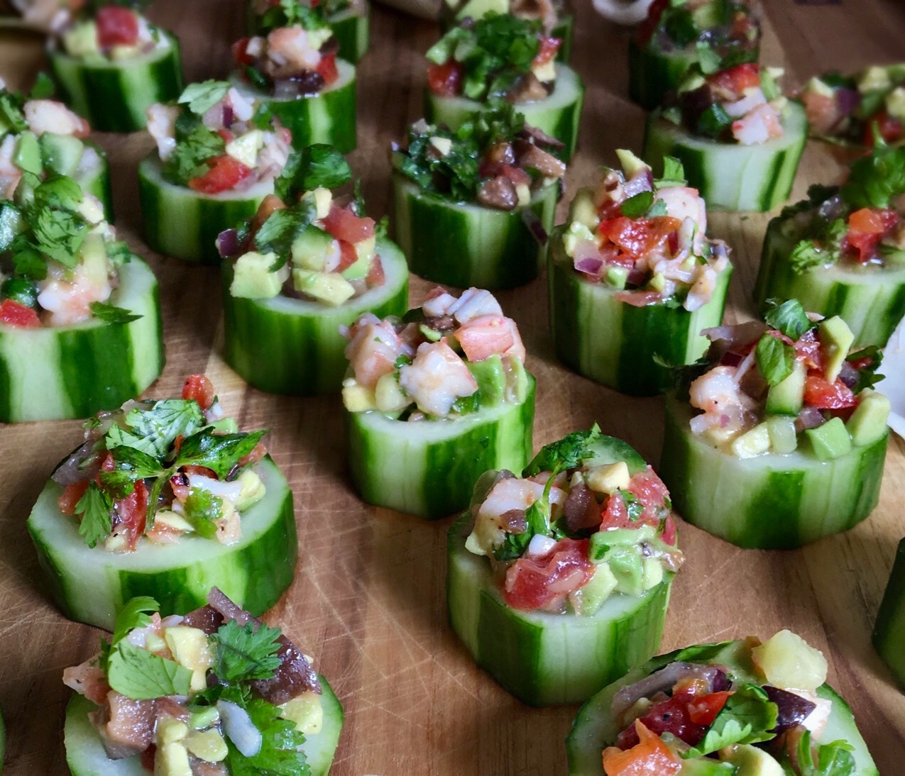 Shrimp Ceviche Stuffed Cucumbers